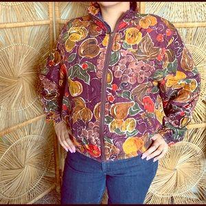 VTG 80s Fruity Fall Silk Sport Zip Jacket